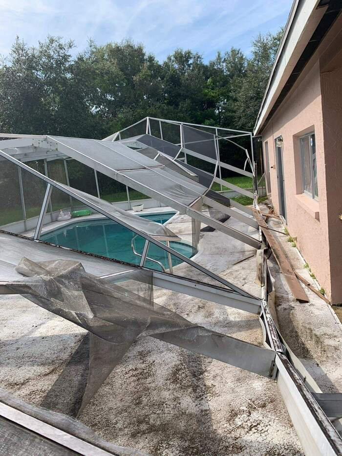 Out dated and Damaged pool Enclosures can Collapse or become dangerous in a hurricane or extreme hig